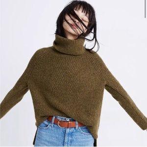 Madewell Mercer Olive Green Turtleneck Sweater XS